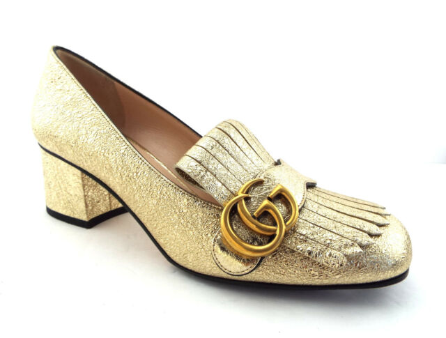 e2077455cdc9cd GUCCI Size 7.5 Gold MARMONT Fringe GG Metallic Loafer Pumps Heels Shoes 38