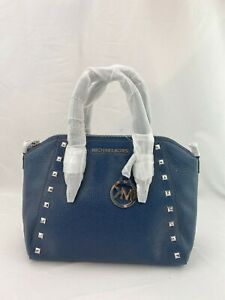 NWT-MICHAEL-KORS-CIARA-STUDDED-MD-PEBBLE-LEATHER-SATCHEL-CROSSBODY-BAG-NAVY