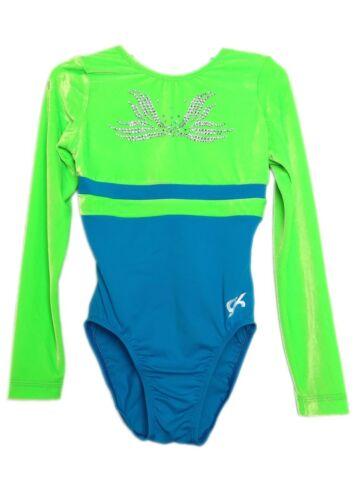 GK Elite Jeweled Lime Velvet Gymnastics Leotard AXS Adult Extra Small 4136