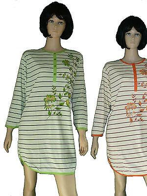 Damen Nachthemd,Sleepshirt mit langem Arm 100% Baumwolle Gr. M-XXXL Top Qualtiät