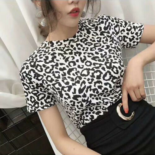 Women/'s Leopard T Shirt Short Sleeve Tee Top Black And White