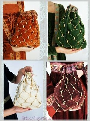 Mittelalter Perlenbeutel Tasche Samt Perlen Borte Renaissance Fürstin Pompadur
