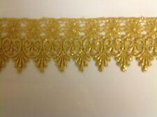 NEW MEDALLION PATTERN MET. GOLD VENISE LACE FABRIC TRIM