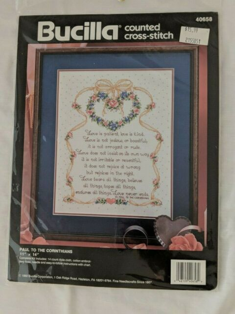 /'Love Never Fails/' Corinthians Cross Stitch Kit by Janlynn 14 Count Aida