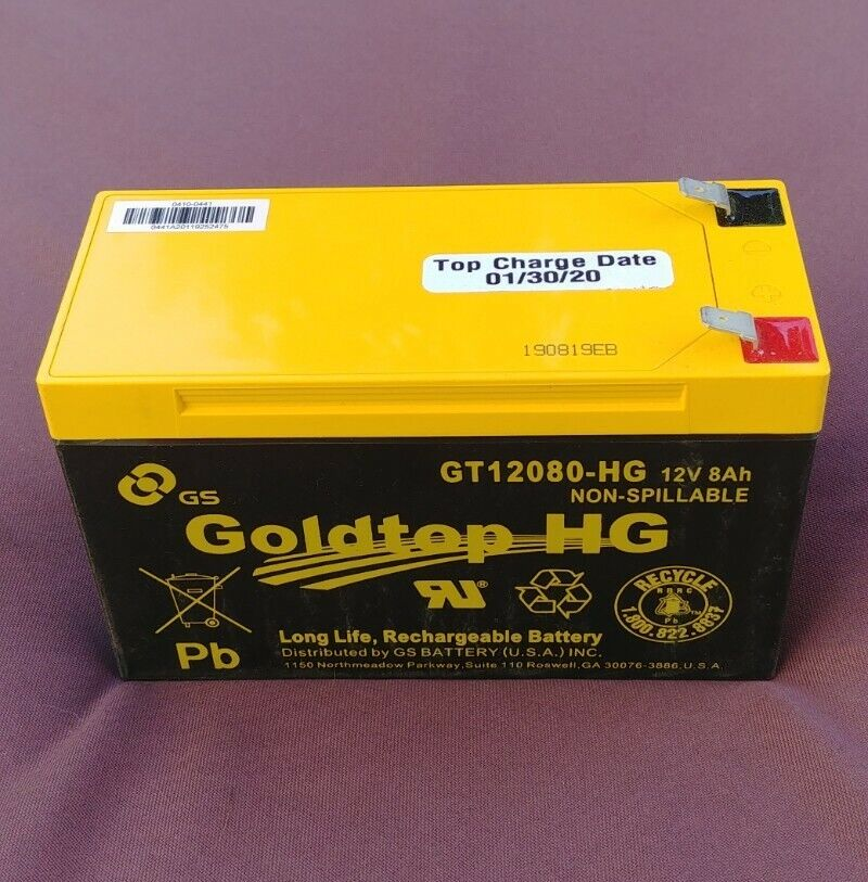(NEW) Goldtop GT12080HG 12V8AH Long Life Rechargeable(Top Charge Date: 01/30/20)