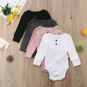 Newborn Infant Baby Boys Girls Romper Jumpsuit Bodysuit Playsuit Clothes Outfits