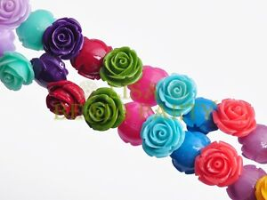 30pcs-10mm-Flower-Rose-Synthetic-Coral-Loose-Spacer-Beads-Findings-Mixed-Colors