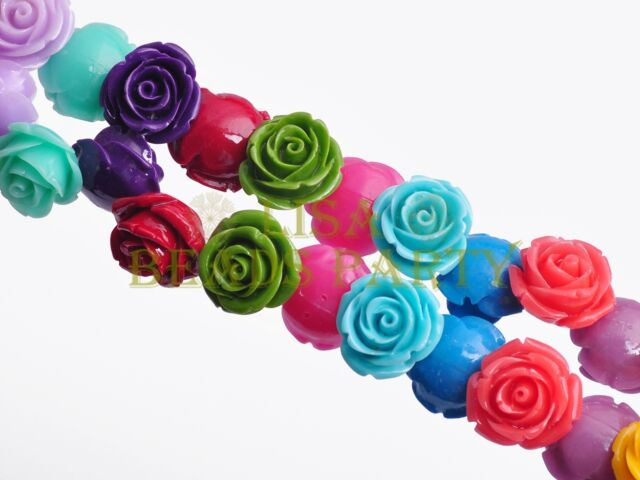 30pcs 10mm Flower Rose Synthetic Coral Loose Spacer Beads Findings Mixed Colors