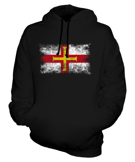 GUERNSEY DISTRESSED FLAG UNISEX HOODIE TOP FOOTBALL GIFT  CLOTHING JERSEY