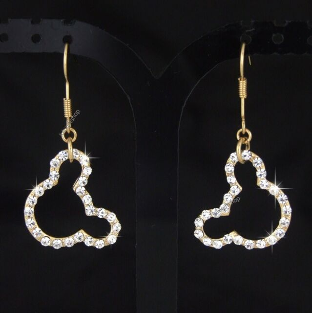 CHAMPAGNE COLOR GOLD PLATED DISNEY MICKEY MOUSE EARRINGS USE SWAROVSKI CRYSTALS