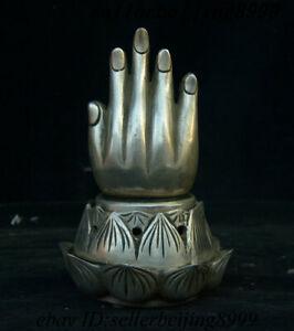 Chinese Bronze Copper Buddha Hand Lotus Flower Incense Burner Censer Statue