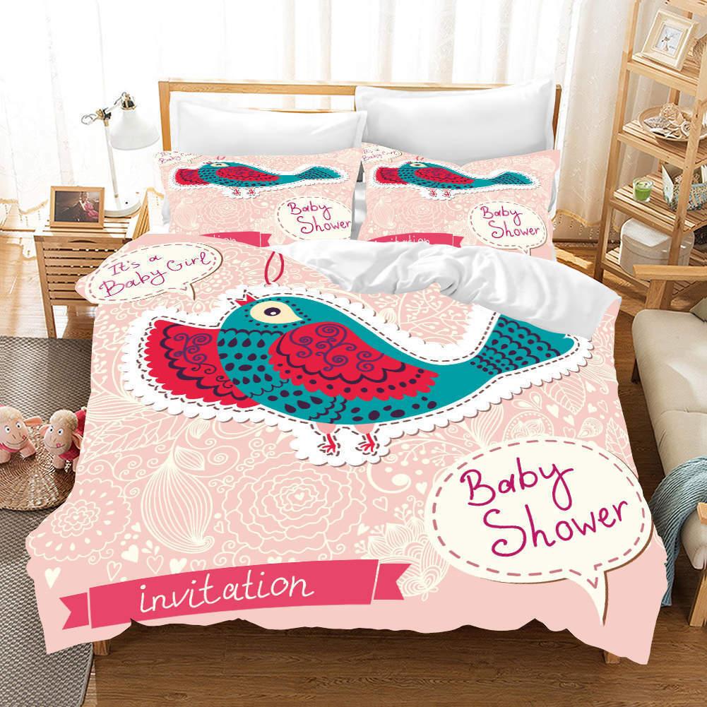 Blau rot Birds 3D Printing Duvet Quilt Doona Covers Pillow Case Bedding Sets