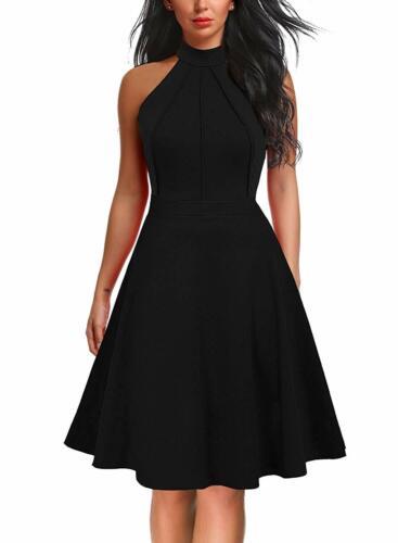 Berydress Women/'S Sleeveless Halter Neck A-Line Casual Party Dress