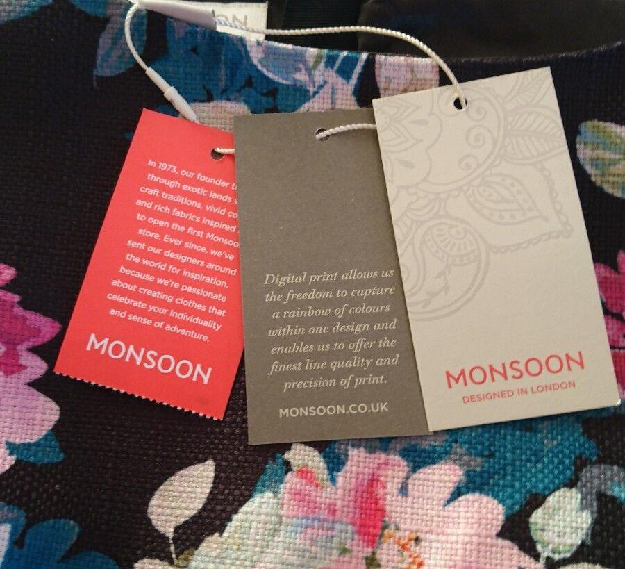 Monsoon FIRENZE digitale Stampa Floreale Nero Shift Shift Shift Dress BNWT 3b5f70