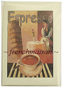 PISA-LEANING-TOWER-Expresso-Coffee-Italian-Lady-Vintage-Art-Design-ITALY-CARD