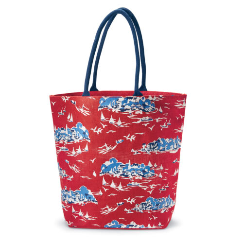 """Mud Pie MF6 Women's Fashion 18x22/"""" Sailboat Toile Tote Bag Red or Natural"""