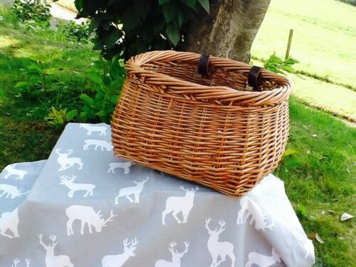HERITAGE LIGHT STEAMED FULL WILLOW POT-BELLIED BIKE BASKET  GORGEOUS