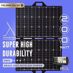 12V 200W Folding Solar Panel Kit Mono Portable Blanket Caravan Camping Charger