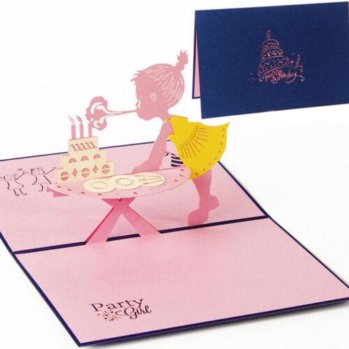 Am /_3D Erscheinen Kinder Mädchen Geburtstags Grußkarte Party Einladungskarten