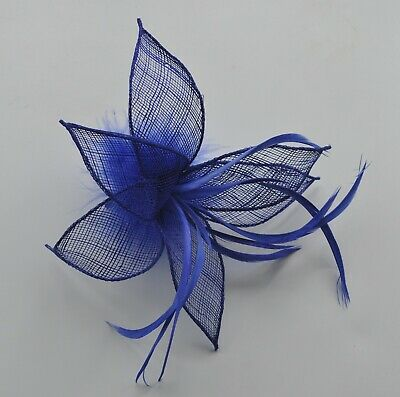 Royal blue sinamay /& feather lily flower wedding fascinator hair clip//corsage UK
