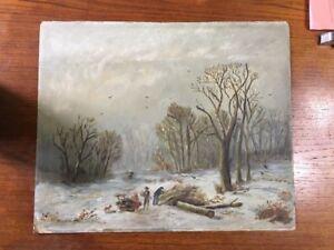 "Antique American Primitive Folk Art Painting Winter Woods Gatherings 18.5""x15.25"