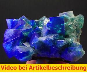 6755-Fluorite-gruen-Zwilling-11-11-7cm-daylightflourescence-UV-Rogerley-GB-MOVIE
