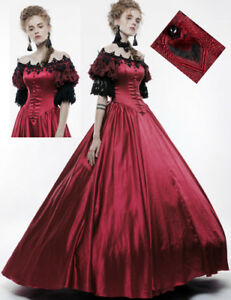 rosso vittoriano pizzo Ball barocco gotico raso pizzo Punkrave Gown 0wvqZq7