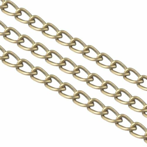 100m Unwelded Iron Curb Chains Twisted Curved Chains 3x2.2x0.6mm