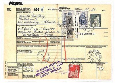 Analytisch Az292 1973 Switzerland High Values Zollikerberg *insured Mail* Card Italy Pts