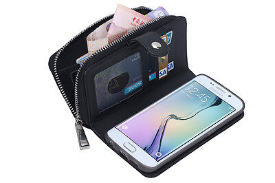 Luxury PU Leather Purse Zipper Wallet Case Card Cash Holder For Samsung Galaxy