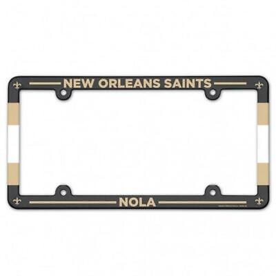 White NFL New Orleans Saints Plastic License Plate Frame