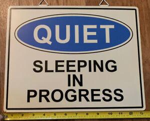 Porcelain-Metal-Sign-QUIET-Sleeping-in-Progress-13-1-2-x-10-1-2-inches-hang
