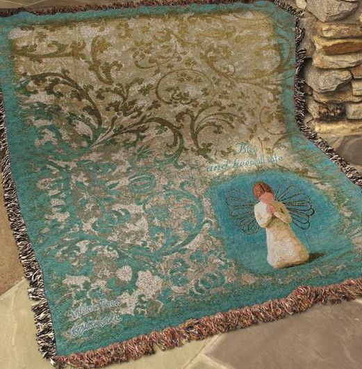 Willow Tree Angel North American Made Religious Woven Tapestry Throw Blanket