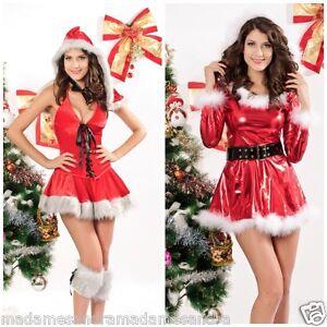 Babbo Natale Donna Costume da Rosso vestito Elfo 8 10