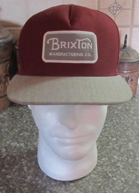 fd22ef8555b49 ... cheapest brixton manufacturing co. maroon red gray patch bill snapback  trucker cap hat e4ead fa20b