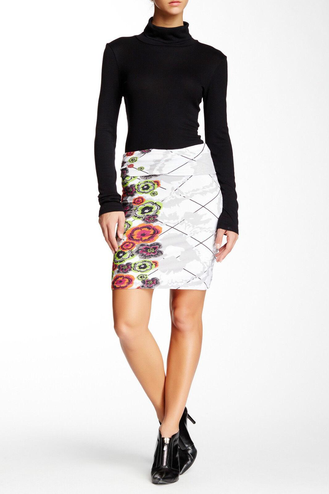 Analili Womens Fold Over Waist Print Jersey Skirt Medium
