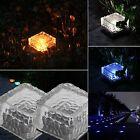 Outdoor Solar LED Light Garden Landscape Path Way Glass Ice Cube Lamp Waterproof