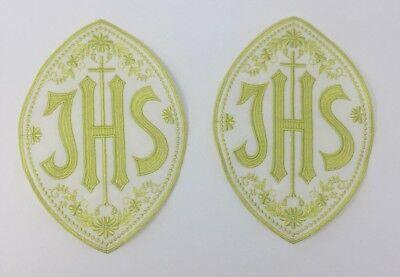 Christogram IHS Latin Cross Emblem Embroidered Clergy Vestment Altar 2 Pc.