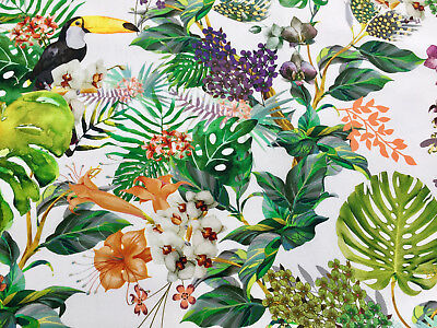 Birds /& Palms Printed Cotton 280cm Wide Double Width Curtain// upholstery Fabric