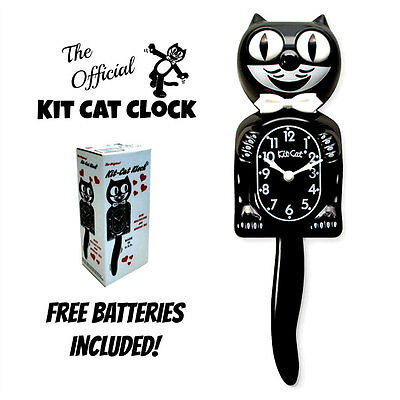 "CLASSIC BLACK KIT CAT CLOCK 15.5"" Free Battery USA MADE Official Kit-Cat Klock"