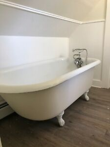 Details About Antique Porcelain Claw Foot Bath Tub 5ft With Faucet And Shower Attach
