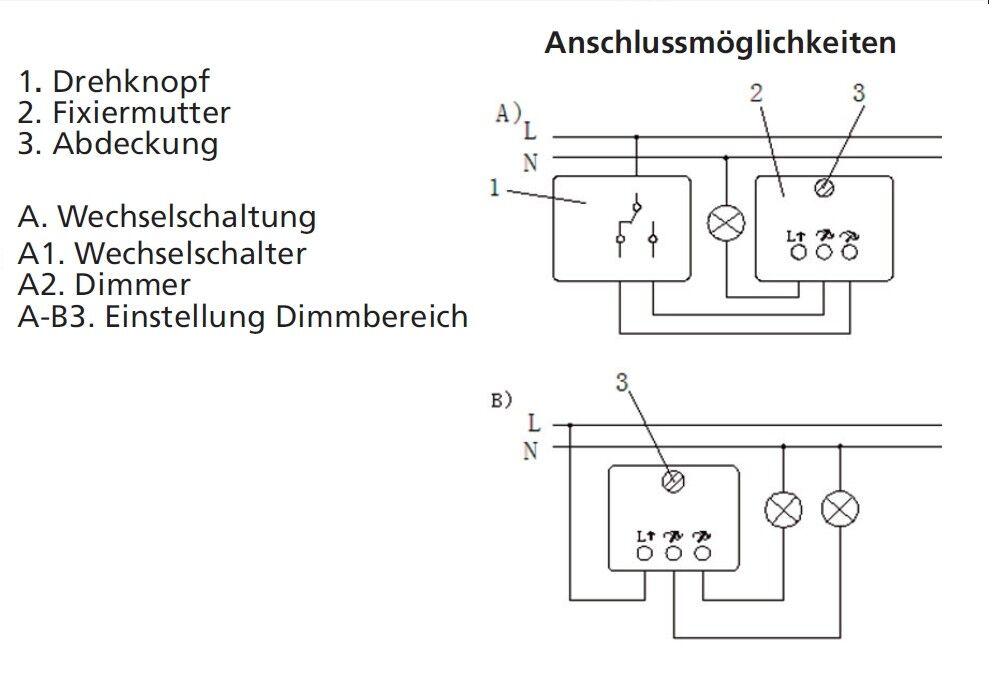 1x ABB Dimmer STD 50-3 20-500 W VA Drehdimmer Hutschienenmontage 50 Hz 230V NV