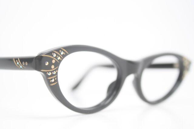ce4618661d Black Rhinestone Vintage Cat Eye Glasses Unused 1960s New Old Stock Frames