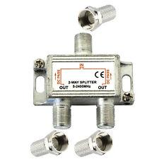 2 VIE coax 5 - 2400 MHz ANTENNA TV UHF VHF FM Segnale Splitter Adattatore in metallo NUOVO