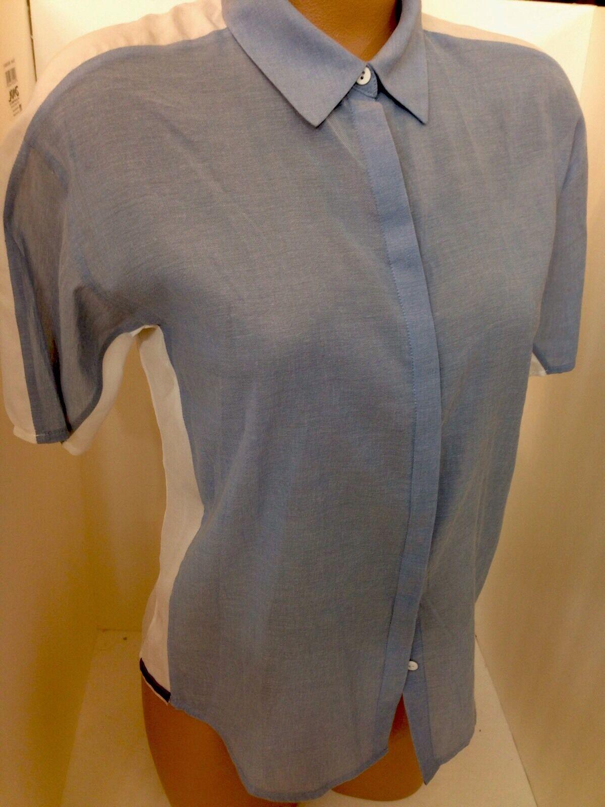 J Brand Shirt Weiß With Blau Front Xsml Nwt