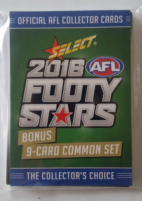 2016 AFL SELECT FOOTY STARS 9 Card Common Set BCC1 - BCC9 - MINT NEW