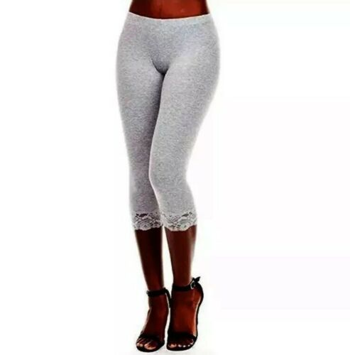 New Bozzolo Heather Gray Lace Hem Capri Leggings