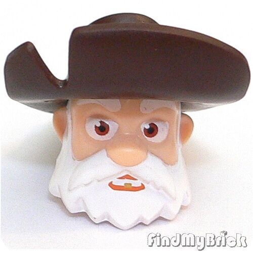 NEW H570A Lego Stinky Pete Head Toy Story White Beard /& Dark Brown Hat 7594