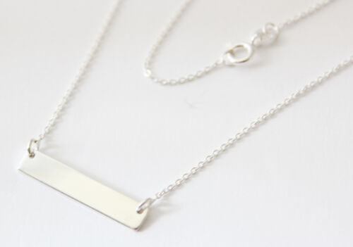 Ladies 925 Sterling Silver Coordinates Bar Necklace With Personalised Engraving