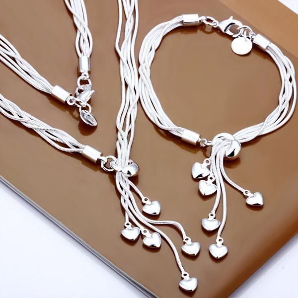 Women's 925 solid silver filled Necklace Bracelet Five Heart Jewelry Sets Gift
